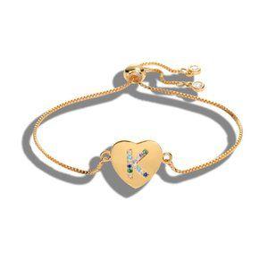 """Gold Heart Letter """"K"""" Initial Name CZ Bracelet"""